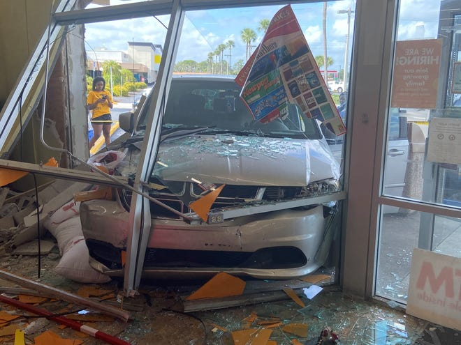 A pedestrian was taken to Lee Memorial Hospital in severe condition after being injured when a vehicle crashed into a Family Dollar store in Lehigh Acres on Monday.