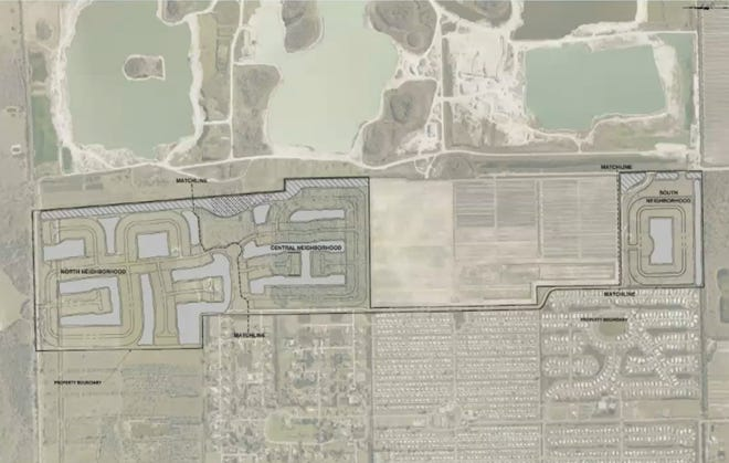 A rough plan of the 328 acre site in the Density Reduction / Groundwater Retention district of Bonita Springs. North is to the left of the photo. The Citrus Park is in the west of the country and the Bonita Grande Mines in the east.