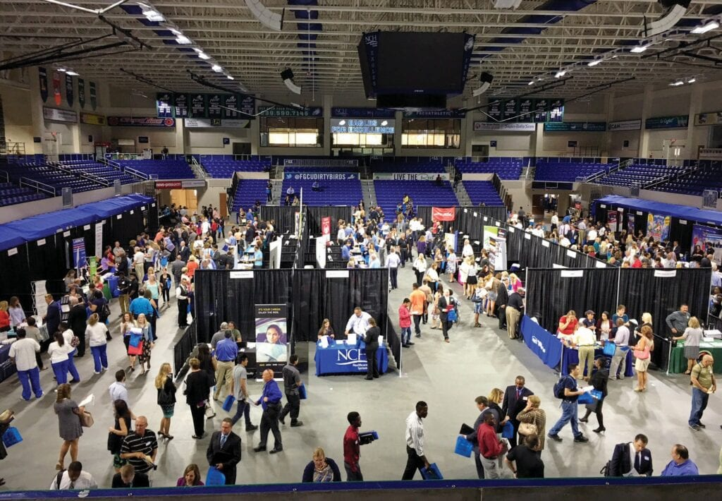 CareerSource Southwest Florida conducted a regional career fair at Alico Arena on the FGCU campus in May 2019 sponsored by Lee Health and Arthrex. More than 70 employers and 1,500 job seekers took part in the fair. Most recently, CareerSource conducted a veterans' hiring event in Fort Myers. CAREERSOURCE SOUTHEST FLORIDA / COURTESY PHOTO