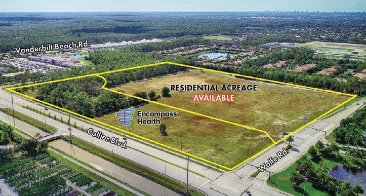 Encompass Health Rehabilitation Hospital and a residential community are planned on Collier Boulevard north of Vanderbilt Beach Drive in North Naples. COURTESY LSI COMPANIES