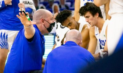 FGCU head coach Michael Fly speaks to players during a time out during a men's basketball game between FGCU and Stetson that took place at Alico Arena on Friday, January 29, 2021. FGCU beat Stetson 64-63.