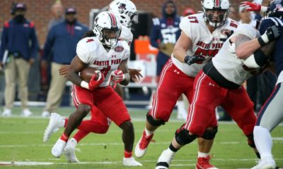 09/11/2021; Oxford, Mississippi, USA; Austin Peay Governors running back Brian Snead (4) runs the ball in the second quarter against the Mississippi Rebels at Vaught-Hemingway Stadium. Mandatory Credit: Petre Thomas-USA TODAY Sports