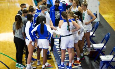 FGCU head coach Karl Smesko speaks to his team prior to a Gulf Coast Showcase game between the FGCU and the University of Arkansas that took place at the FGCU's Alico Arena in Fort Myers on Saturday, November 28, 2020.