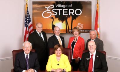 Estero Town Council 2021, from back left: Jim Boesch, Jim Ward, Joanne Ribble and Larry Fiesel. Left front: Jon McLain, Mayor Katy Errington and Jim Wilson.