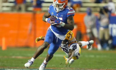 Florida receiver Jacob Copeland (15) runs with the ball after making a catch in last year's game against LSU at Ben Hill Griffin Stadium. Copeland will be making a huge contribution to the Gators on Saturday.